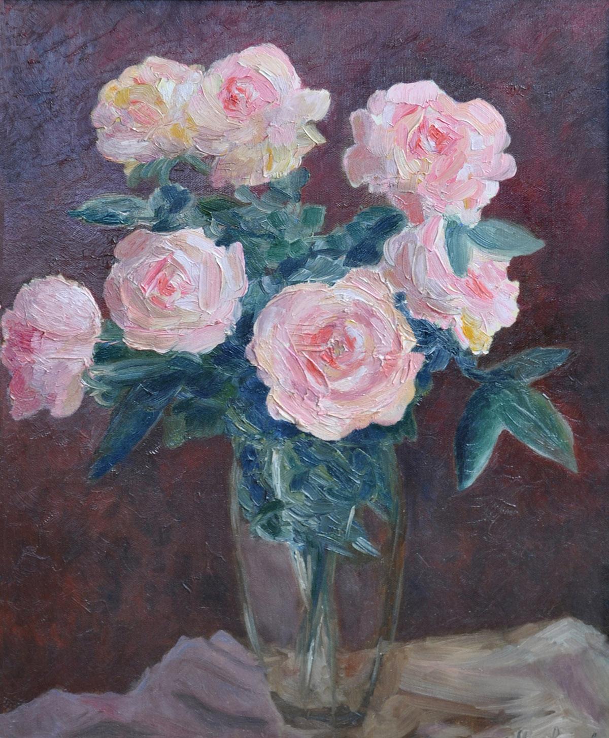 Вечерний букет алых роз