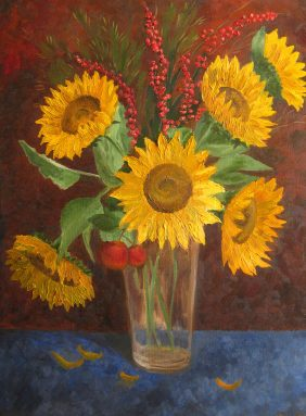 Autumn bouquet with sunflowers