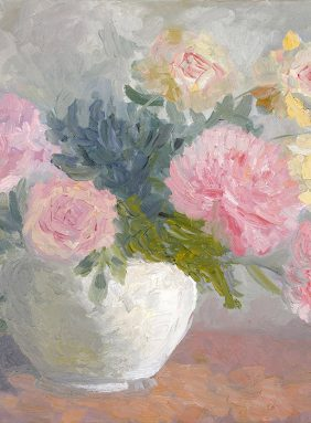 Morning bouquet with peonies