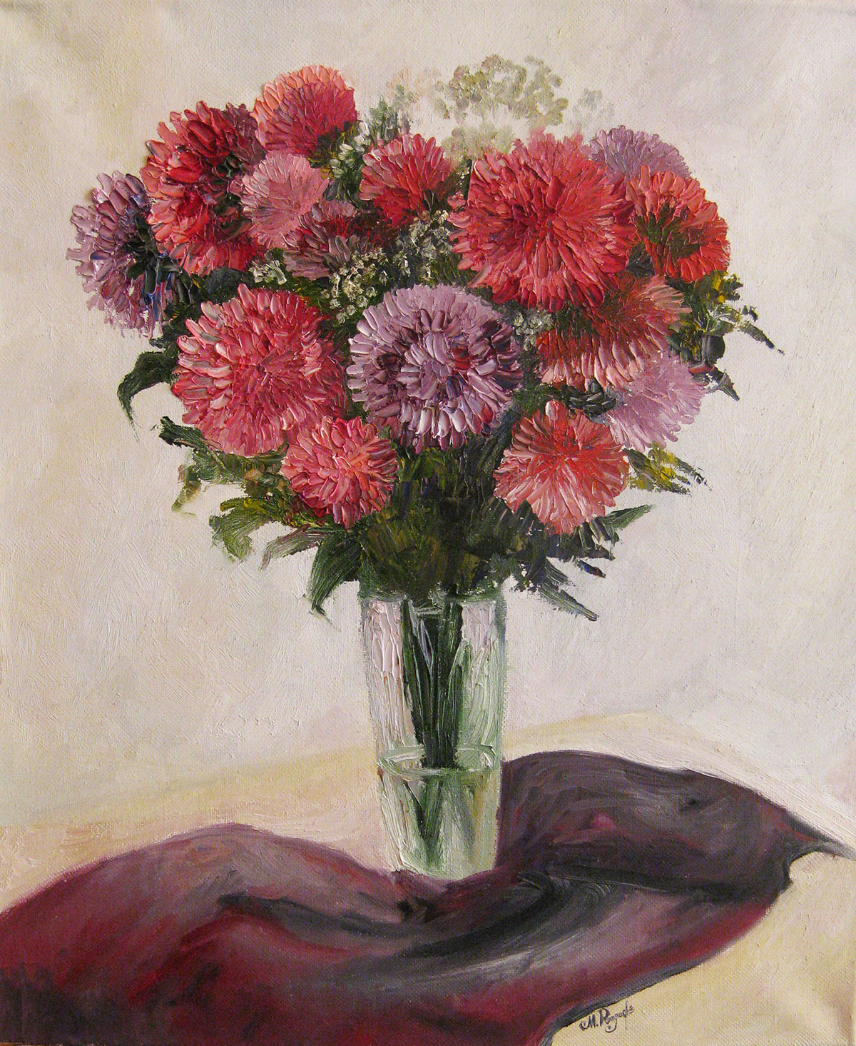 Asters in a vase. Autumn mood